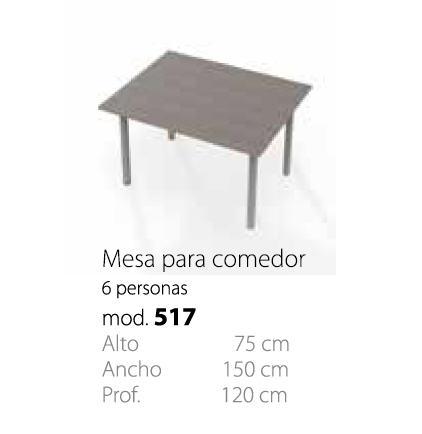 MESA DE COMEDOR PARA 6 PERSONAS MOD. 517 | Muebles para oficina